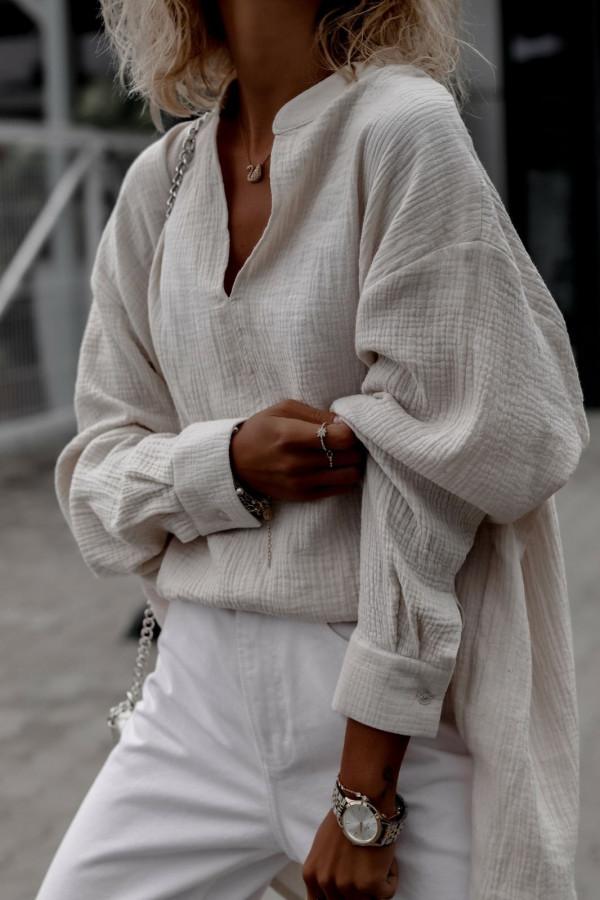 Beżowa muślinowa koszula oversize V-Neck Zoe