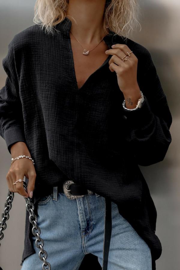 Czarna muślinowa koszula oversize V-Neck Zoe