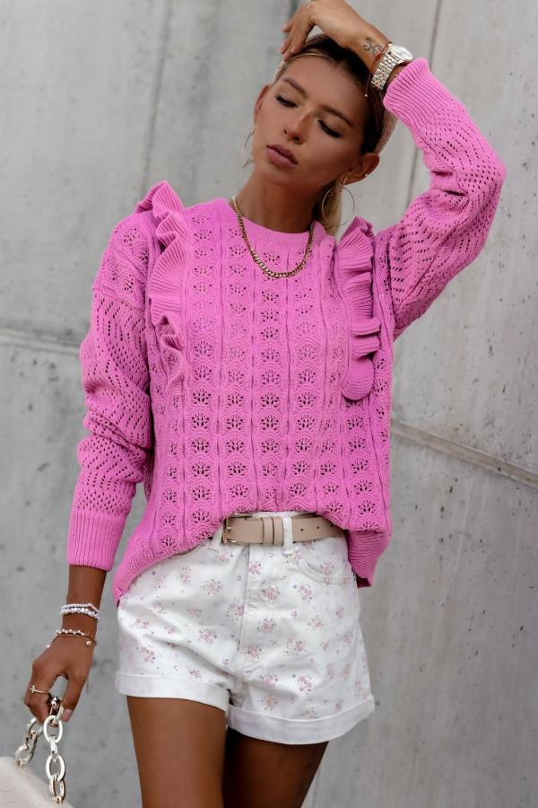 Fuksjowy ażurowy sweterek z falbankami Aubrey