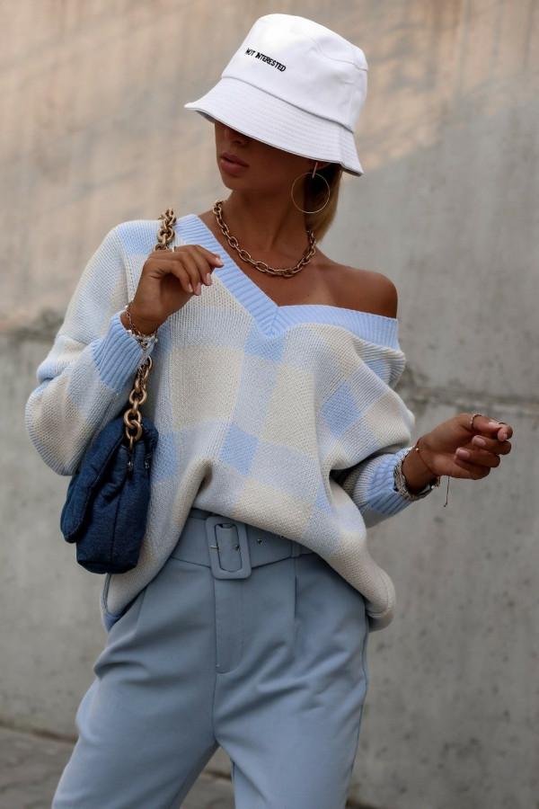 Niebieski sweter oversize V-Neck w kratkę Maya