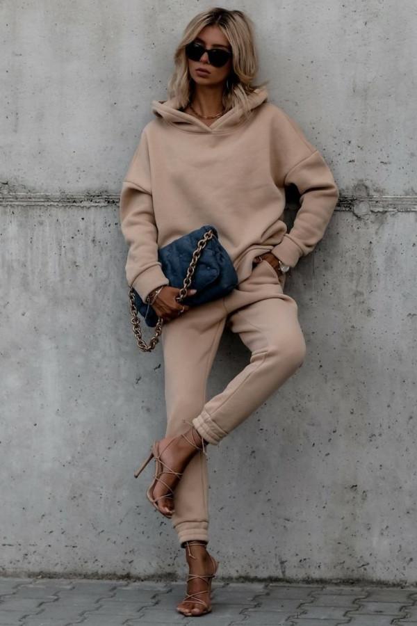 Beżowy komplet dresowy bluzka i spodnie Arianna