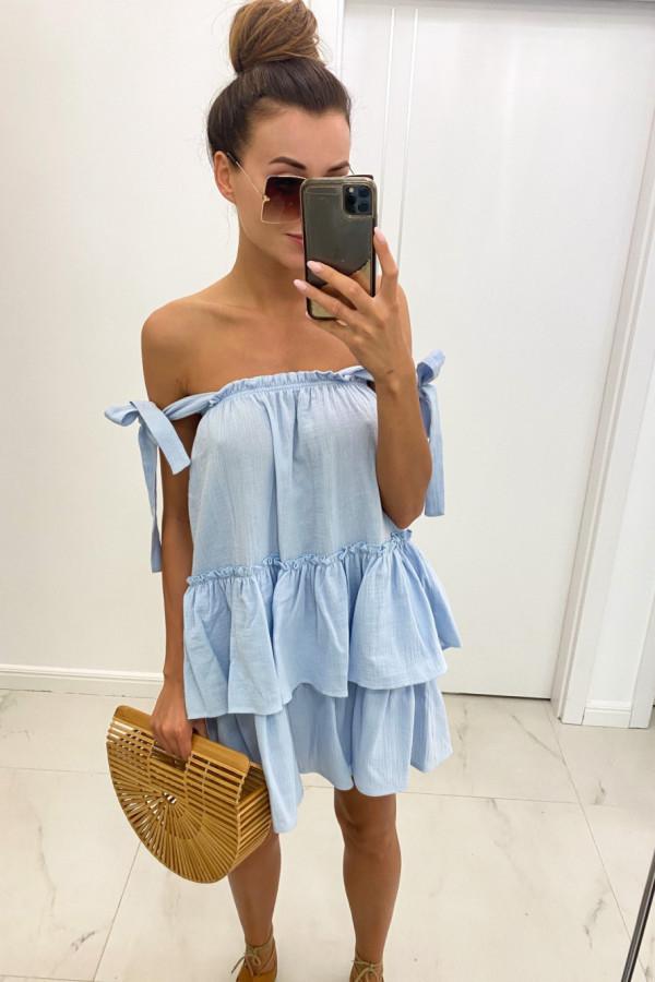 Jasnoniebieska luźna sukienka z falbankami boho Rose