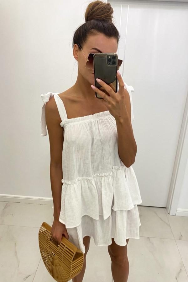 Biała luźna sukienka z falbankami boho Rose