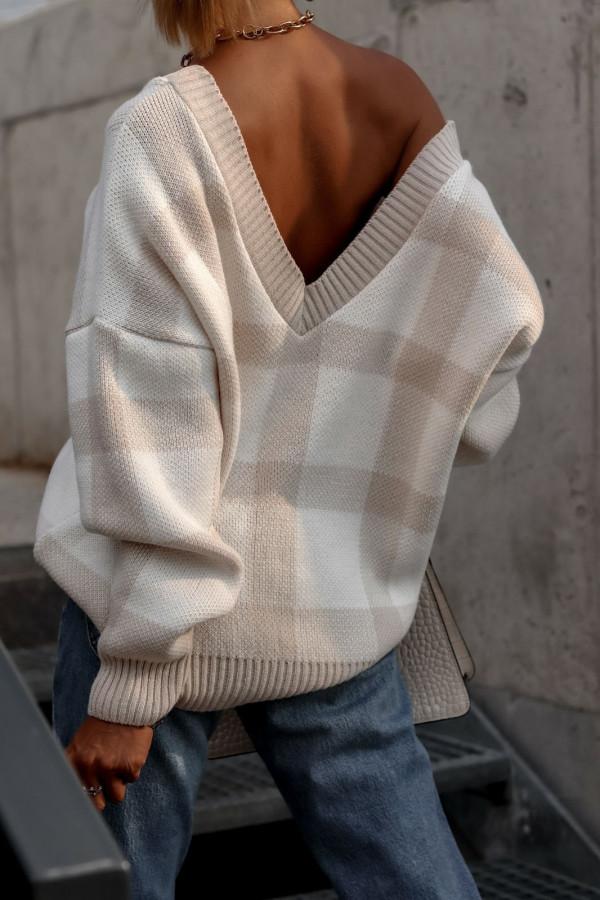 Beżowy sweter oversize V-Neck w kratkę Maya