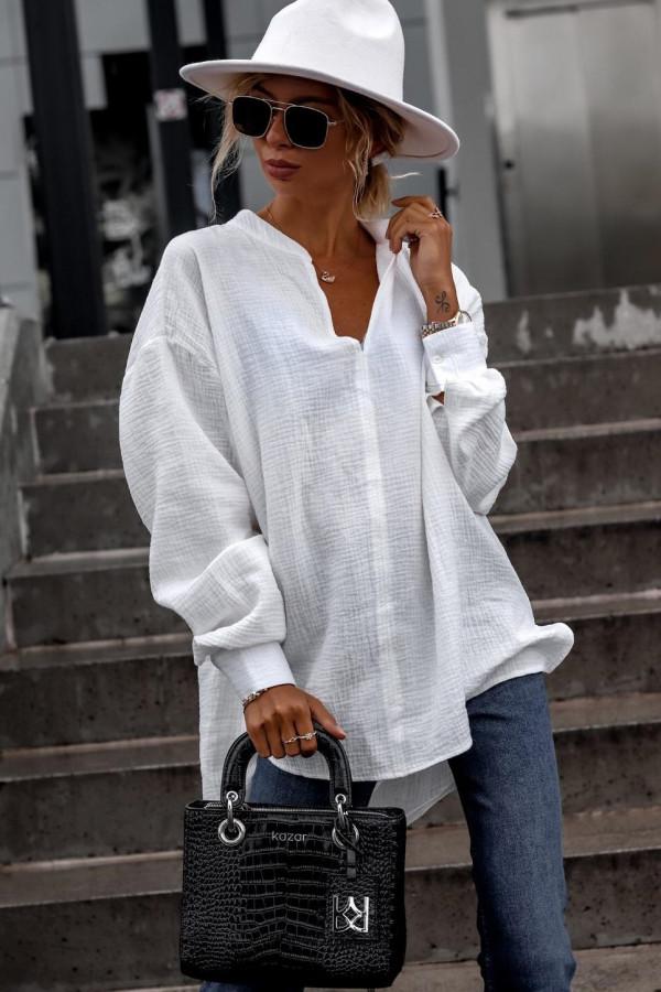 Biała muślinowa koszula oversize V-Neck Zoe