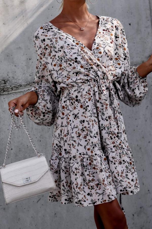 Beżowa sukienka kwiatowa rozkloszowana V-Neck Layla