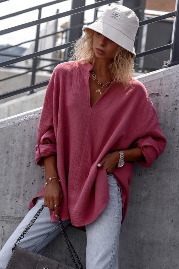 Różowa muślinowa koszula oversize V-Neck Zoe