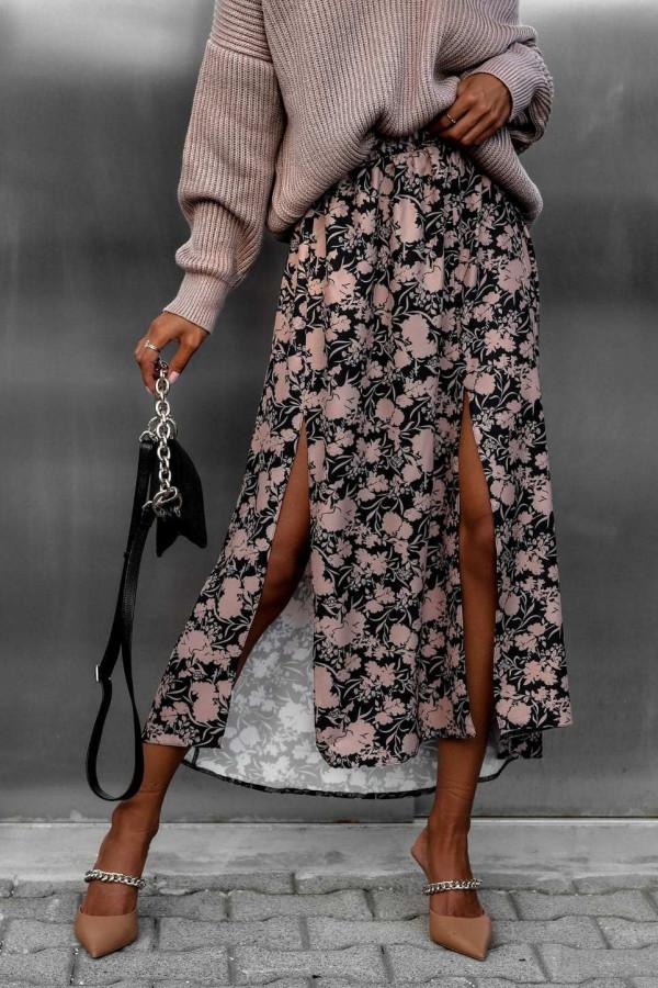 Czarno-beżowa spódniczka z rozcięciem midi w kwiaty Sammy