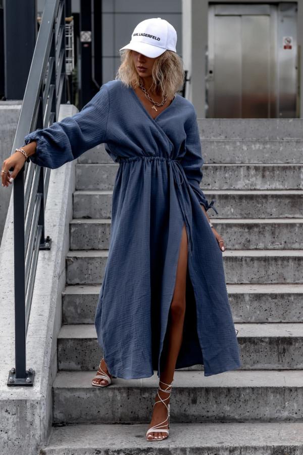Niebieska muślinowa sukienka przekładana z bufiastymi rękawami Ella