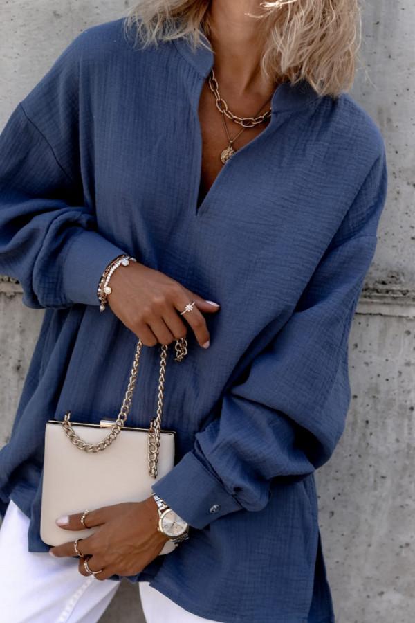Niebieska muślinowa koszula oversize V-Neck Zoe