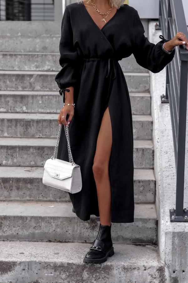 Czarna muślinowa sukienka przekładana z bufiastymi rękawami Ella