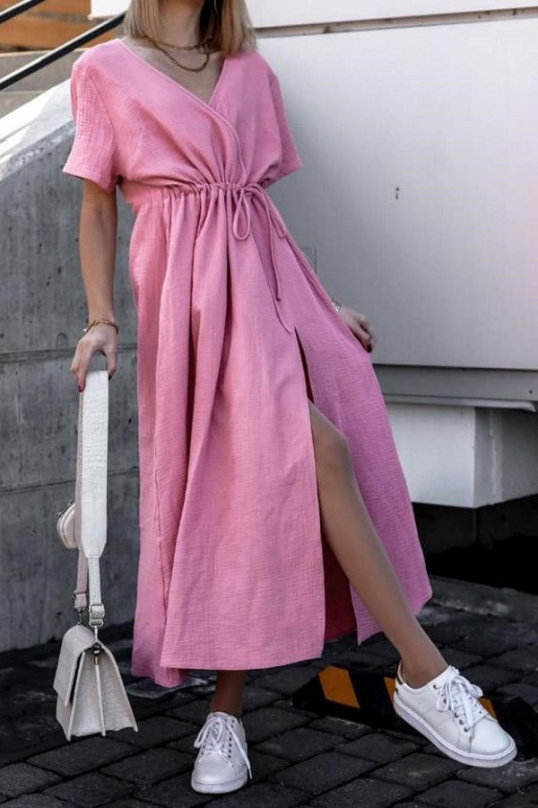 Różowa muślinowa sukienka przekładana maxi Gabrielle