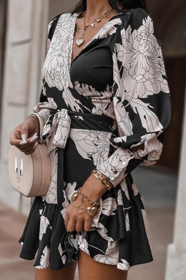 Czarno-beżowa sukienka w kwiaty Flores