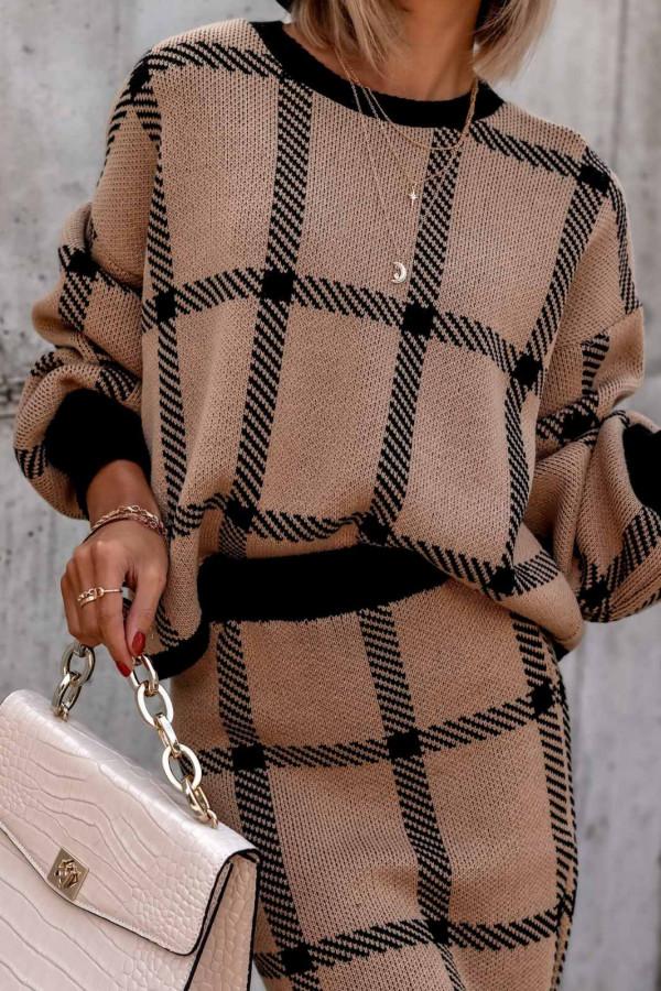 Brązowy komplet damski w kratkę spódniczka i bluza Elena