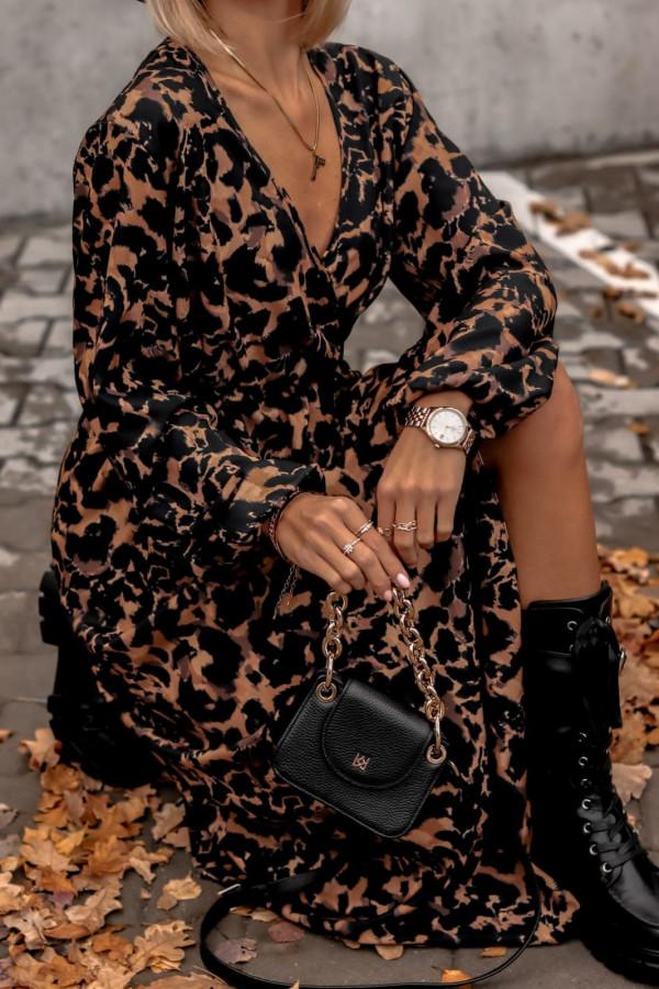 Sukienka w brązową panterkę Sophia