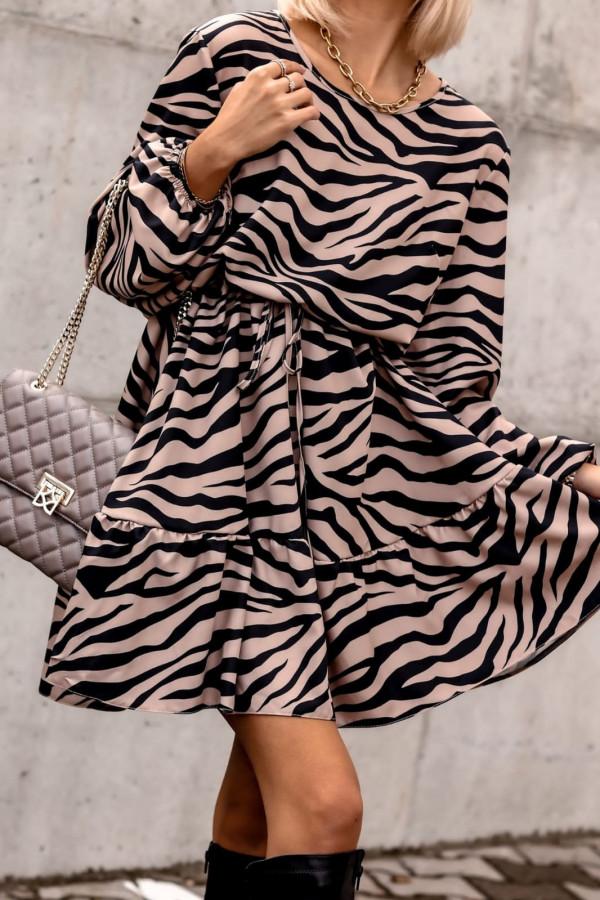 Sukienka zeberkowa rozkloszowana V-Neck Layla