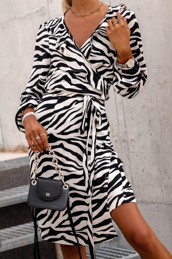 Sukienka czarno biała zeberkowa kopertowa V-Neck Ellie