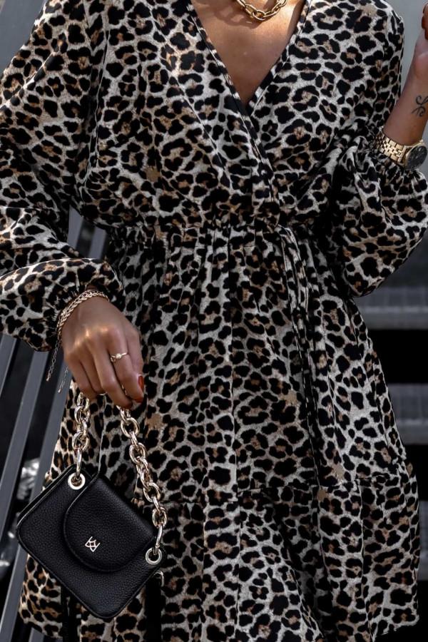 Sukienka panterkowa rozkloszowana V-Neck Layla