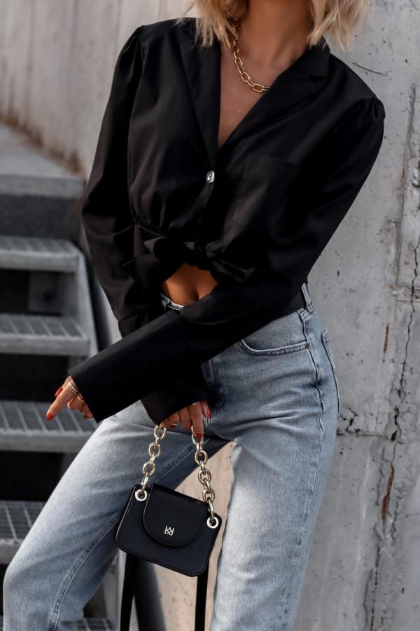 Czarna koszula wiązana i rozpinana Lila