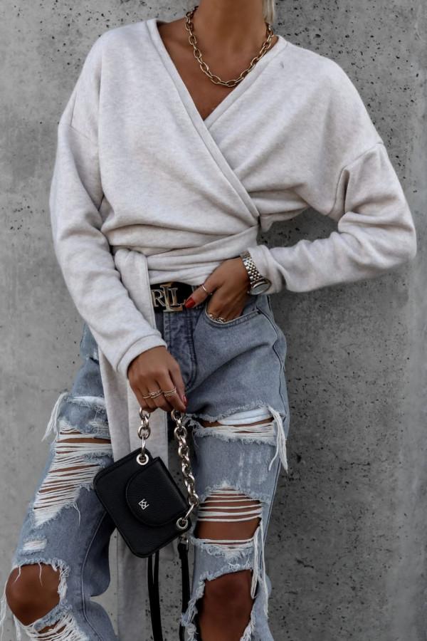 Sweter szary wiązany V-neck Kity