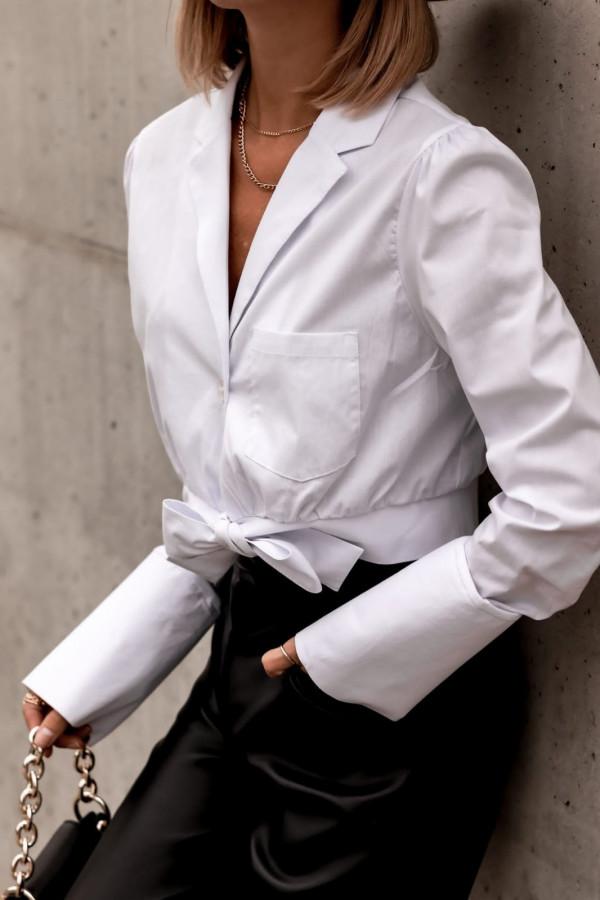 Biała koszula wiązana i rozpinana Lila