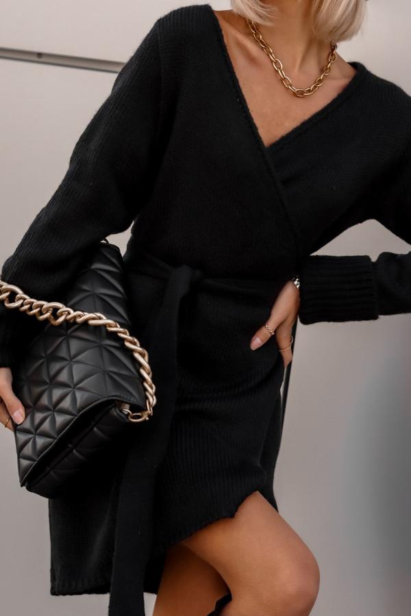 Czarna przekładana sukienka sweterek V-Neck Mila
