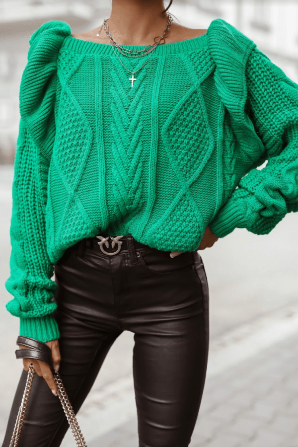 Zielony sweter z falbankami off shoulder Luna