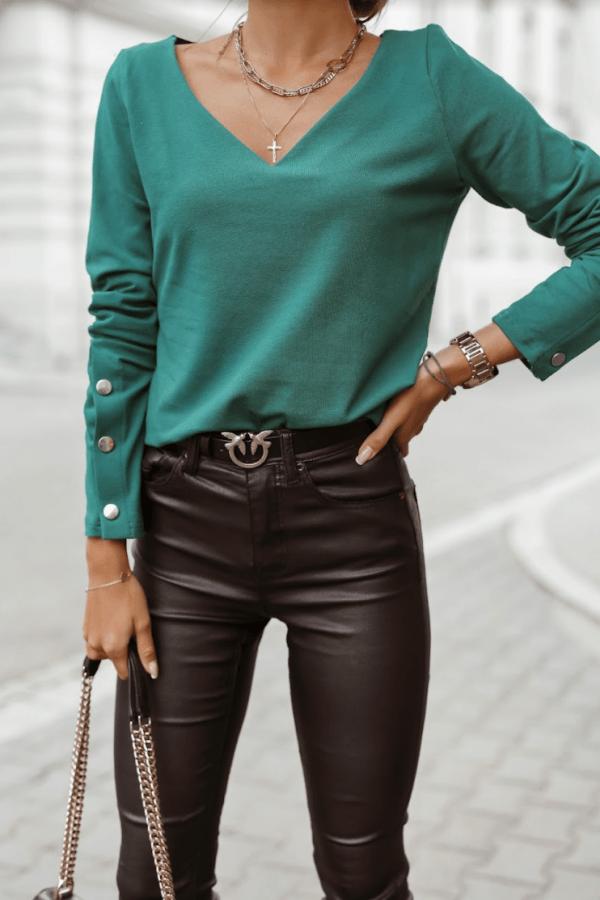Zielona bluzka V-Neck z napami Leah