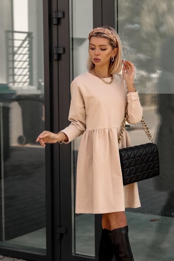Beżowa sukienka z długim rękawem Caro