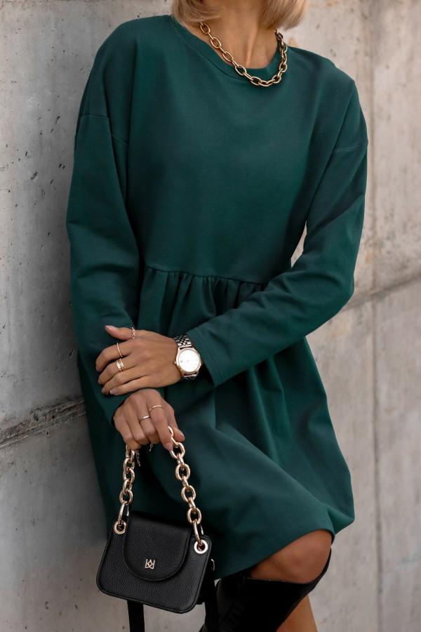Butelkowo-zielona sukienka z długim rękawem Caro