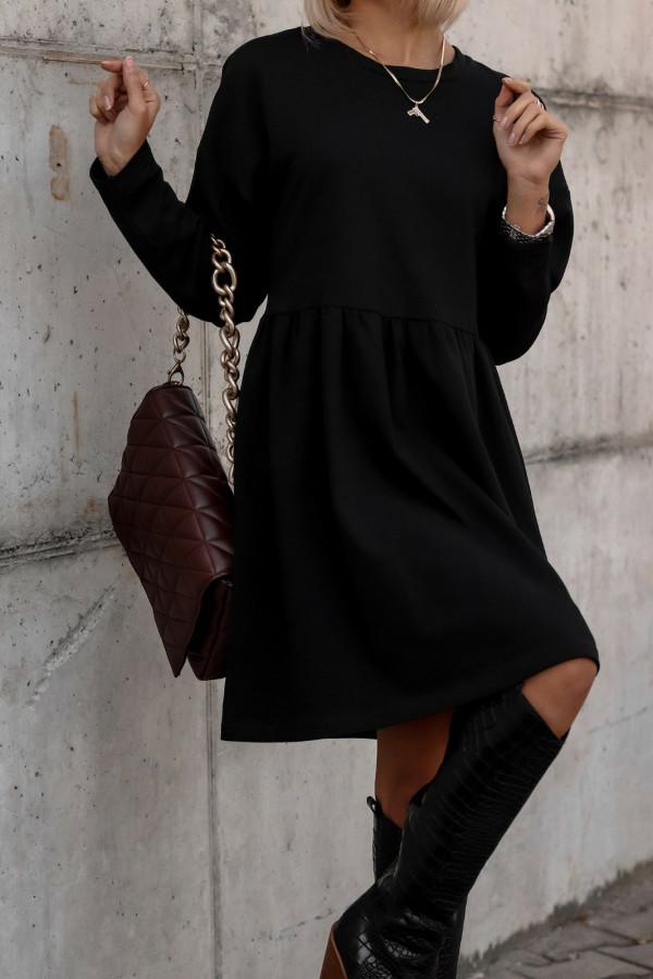 Czarna sukienka z długim rękawem Caro