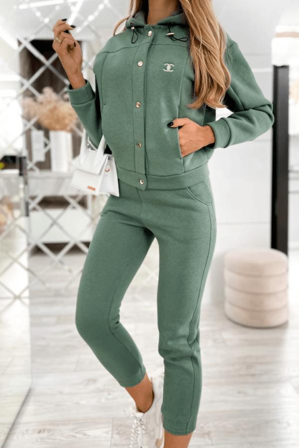 Zielony trzyczęściowy komplet damski z kapturem Fansy