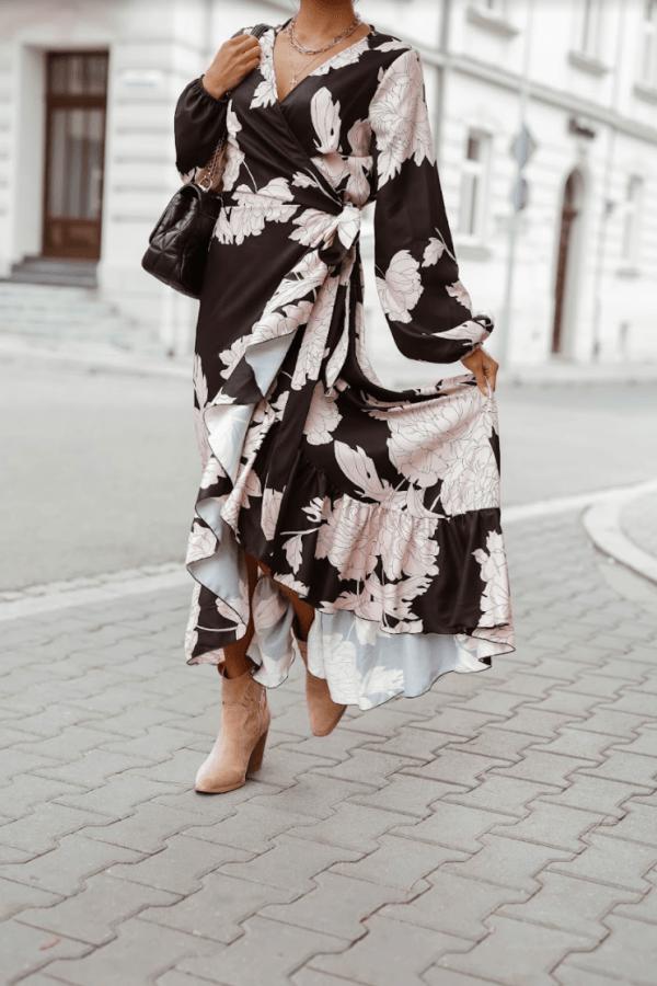 Czarno-beżowa sukienka długa w kwiaty Flores