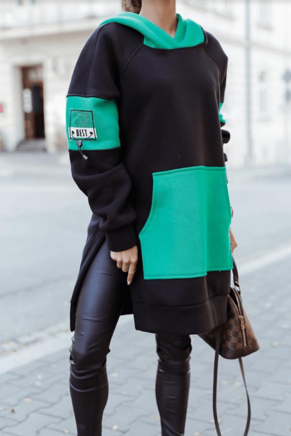 Czarno-zielona sukienka oversize z kapturem Victoria