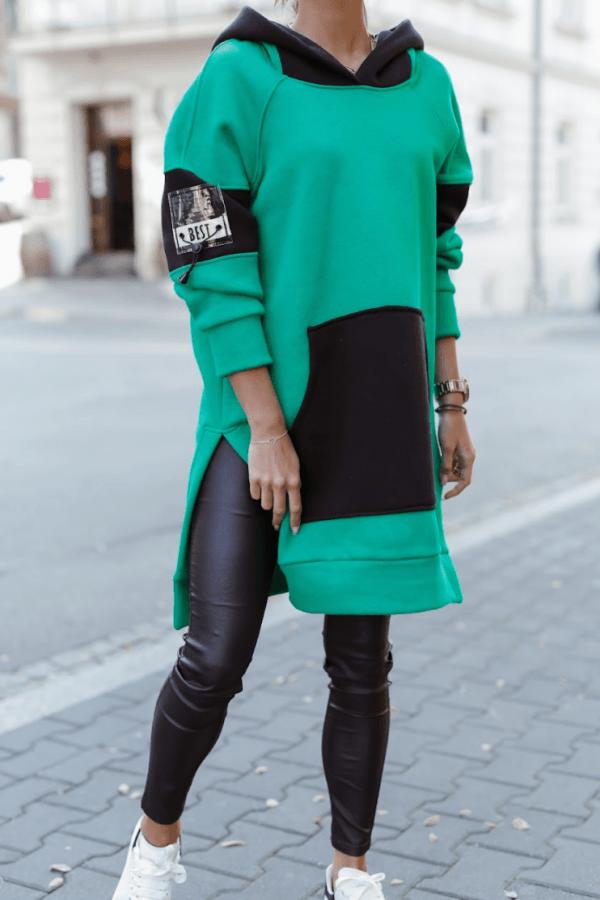 Zielono-czarna sukienka oversize z kapturem Victoria