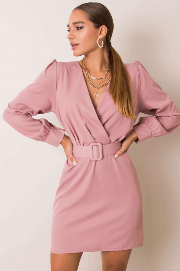Różowa sukienka z paskiem V-Neck Vera
