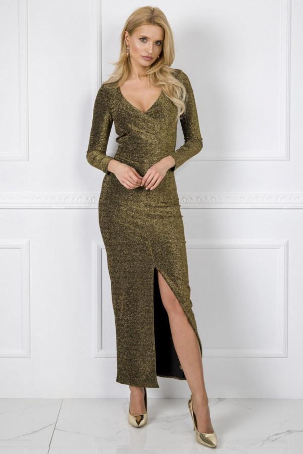 Złota błyszcząca sukienka z wycięciem maxi Montse