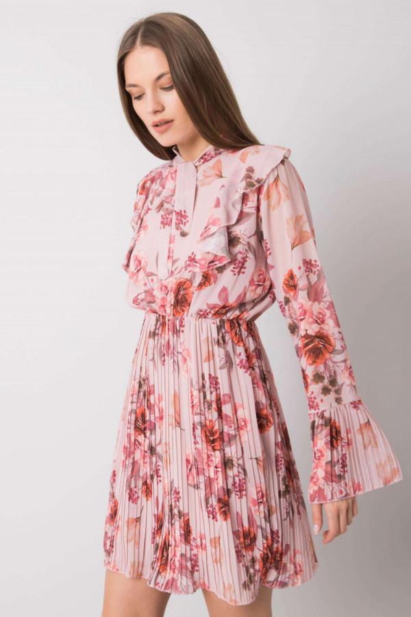 Różowa kwiatowa plisowana sukienka z żabotem Catalina