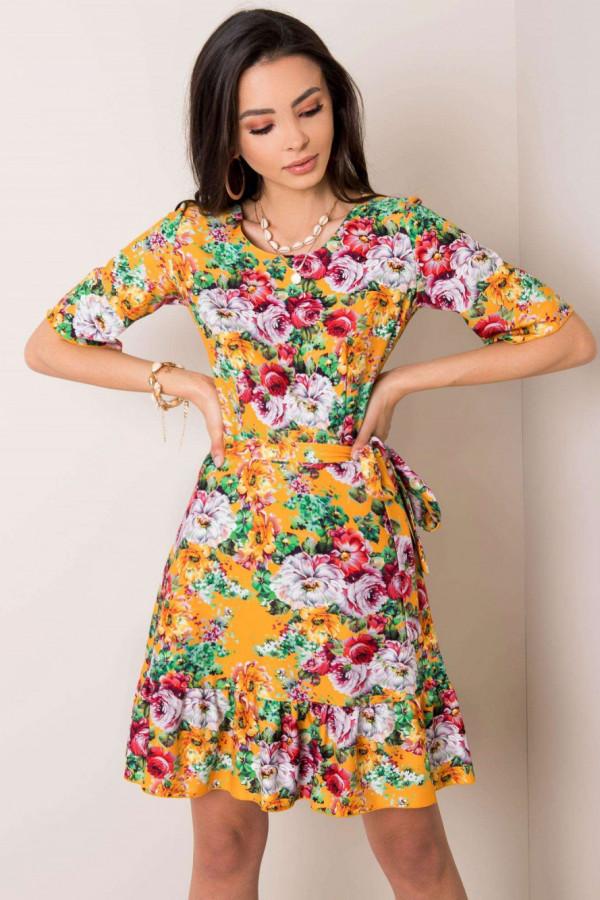 Pomarańczowa kwiatowa sukienka rozkloszowana z falbanką Helena