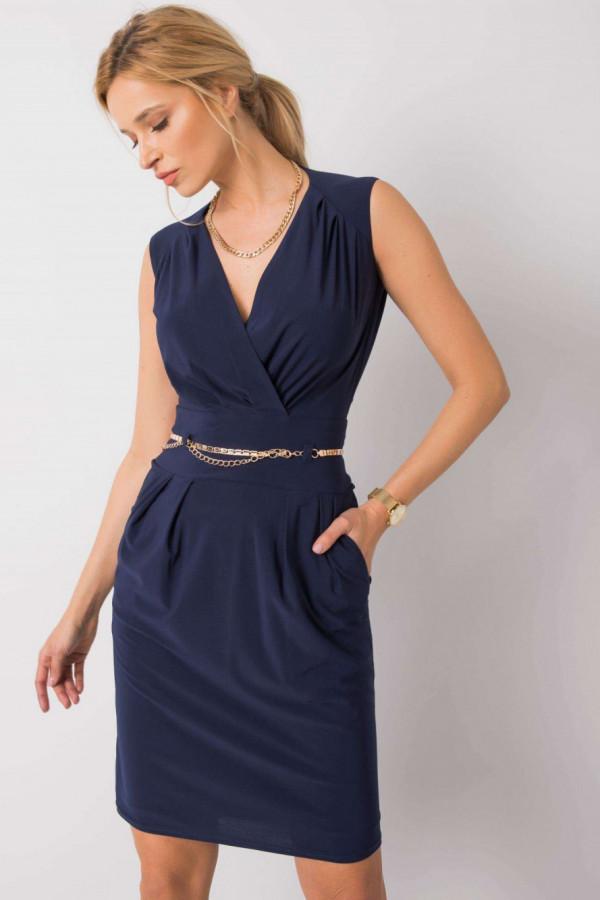 Granatowa elegancka sukienka kopertowa z wycięciem na plecach Diana