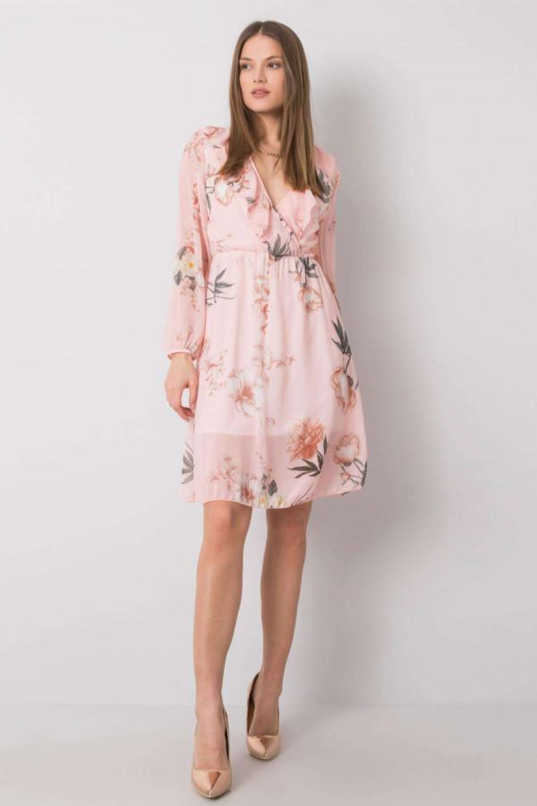 Jasnoróżowa kwiatowa sukienka przekładana z falbankami Susana