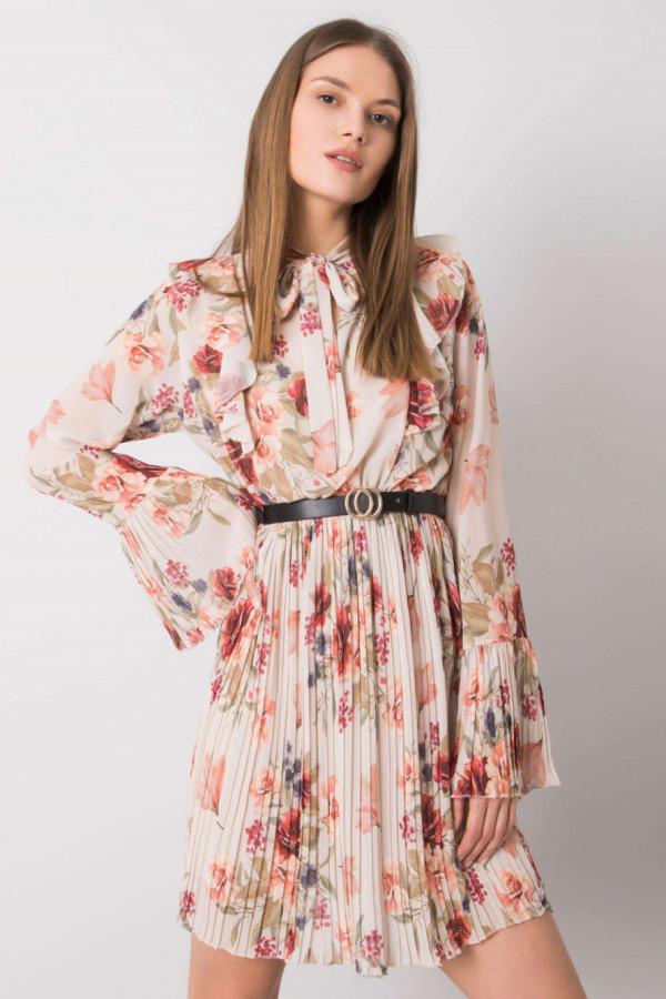 Beżowa kwiatowa plisowana sukienka z żabotem Catalina