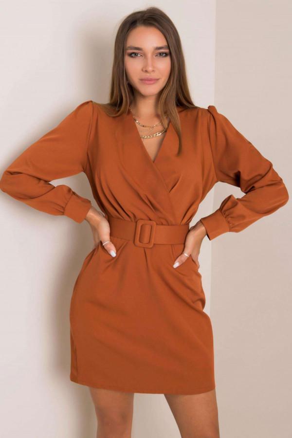 Karmelowa sukienka z paskiem V-Neck Vera