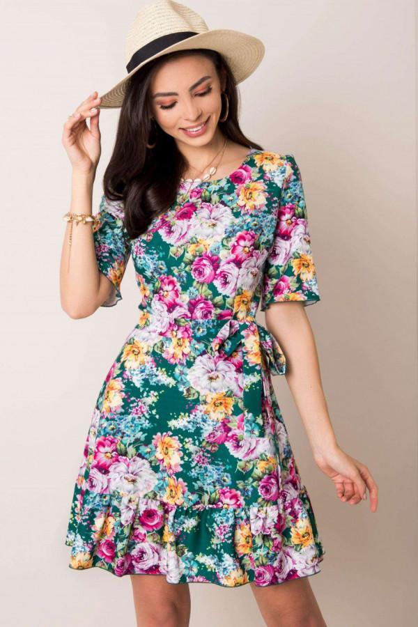 Zielona kwiatowa sukienka rozkloszowana z falbanką Helena