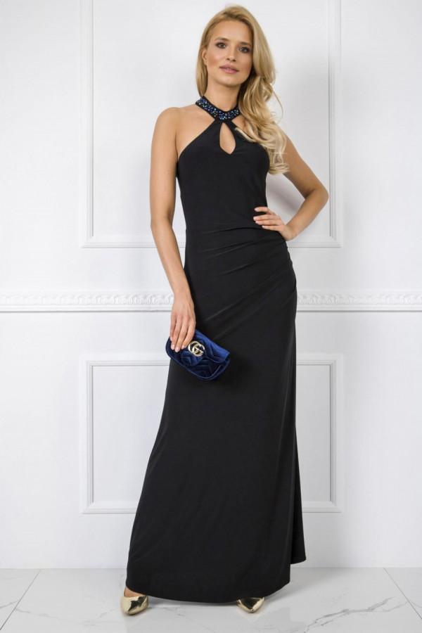 Czarna wieczorowa sukienka z aplikacją maxi Fernanda