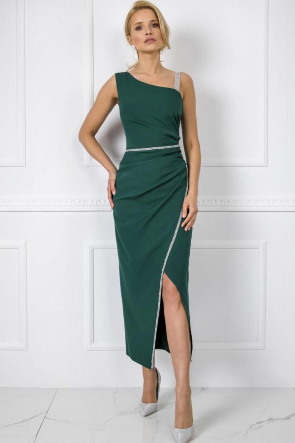 Zielona wieczorowa sukienka z cyrkoniami maxi Dolores