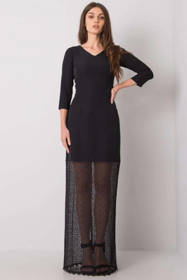 Czarna elegancka sukienka z koronką maxi Carmen