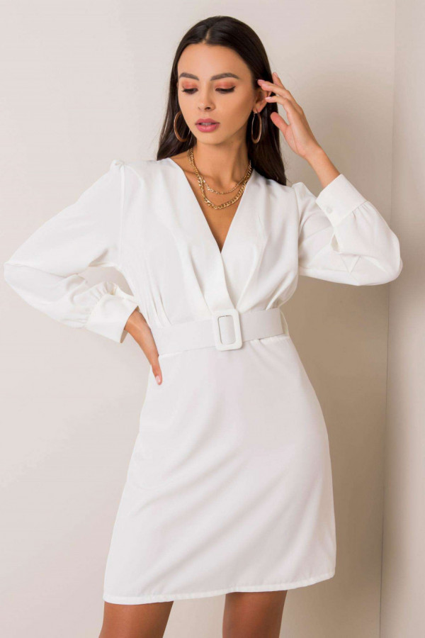 Biała sukienka z paskiem V-Neck Vera