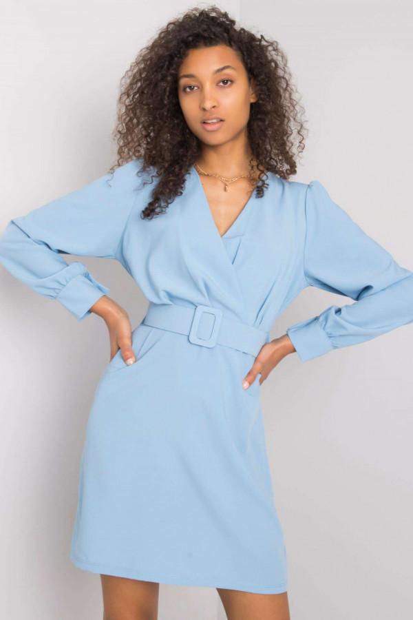 Jasnoniebieska sukienka z paskiem V-Neck Vera