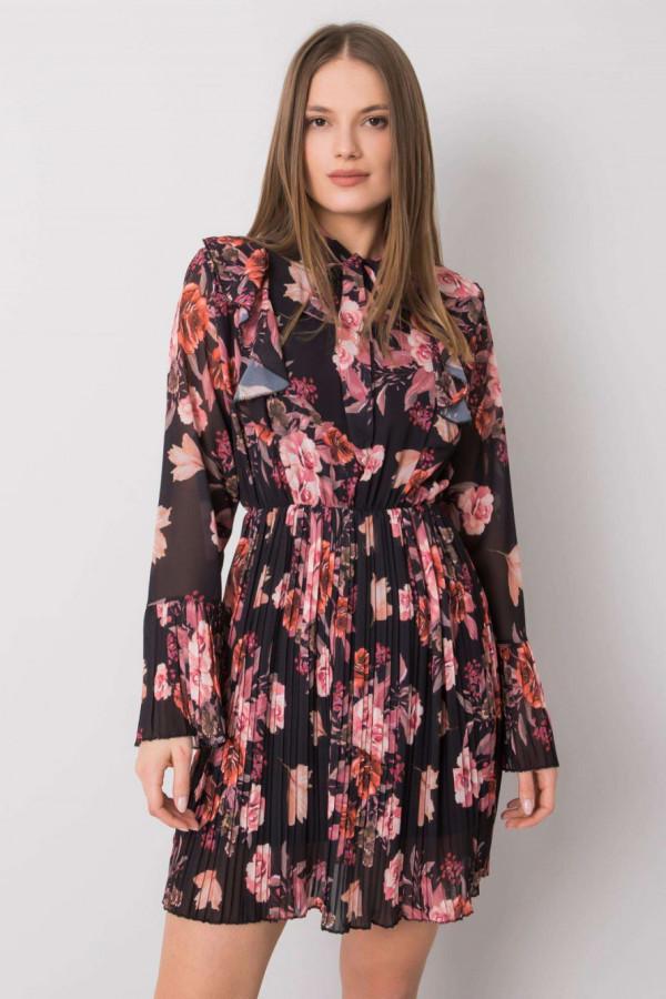 Czarna kwiatowa plisowana sukienka z żabotem Catalina
